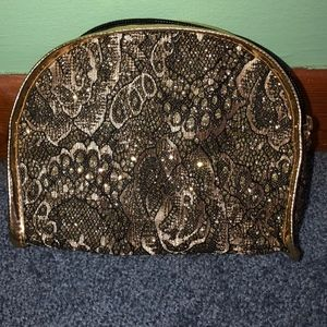 Black and Gold Lace Makeup Bag